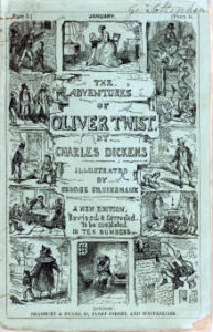 """Cover of First Edition of """"The Adventures of Oliver Twist"""" designed by George Cruikshank"""